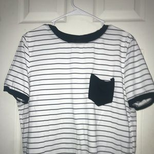 black and white stripes shirt with a black pocket